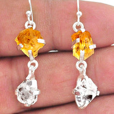 10.50cts yellow citrine raw herkimer diamond 925 silver dangle earrings t15299