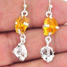 9.96cts yellow citrine raw herkimer diamond 925 silver dangle earrings t15300