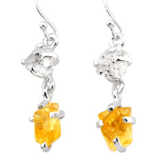 9.72cts yellow citrine rough herkimer diamond 925 silver dangle earrings t25590