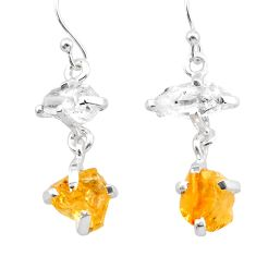 9.72cts yellow citrine rough herkimer diamond 925 silver dangle earrings t25591