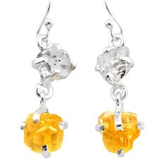 10.60cts yellow citrine rough herkimer diamond 925 silver dangle earrings t25594