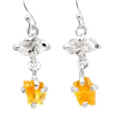 8.70cts yellow citrine rough herkimer diamond 925 silver dangle earrings t25595