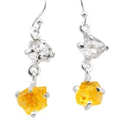 9.53cts yellow citrine rough herkimer diamond 925 silver dangle earrings t25597