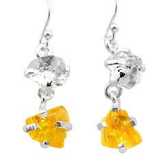 9.72cts yellow citrine rough herkimer diamond 925 silver dangle earrings t25598