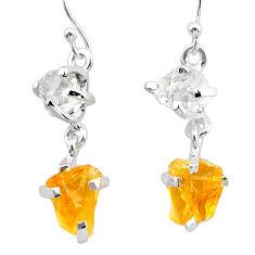 9.72cts yellow citrine rough herkimer diamond 925 silver dangle earrings t25600