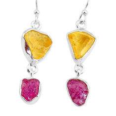 11.25cts yellow citrine raw ruby rough 925 silver dangle earrings r93681