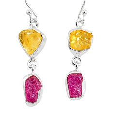 12.10cts yellow citrine raw ruby rough 925 silver dangle earrings r93682