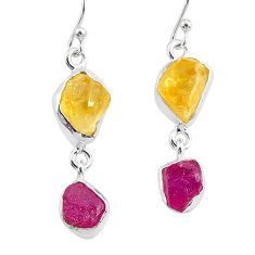 11.25cts yellow citrine raw ruby rough 925 silver dangle earrings r93685