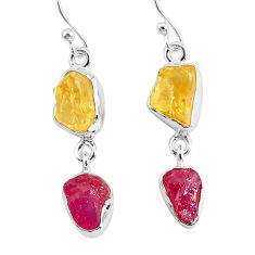 11.20cts yellow citrine raw ruby rough 925 silver dangle earrings r93688