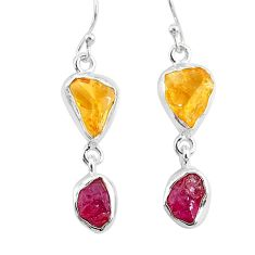 11.25cts yellow citrine raw ruby rough 925 silver dangle earrings r93689