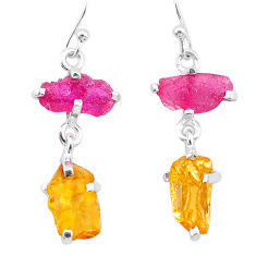 9.07cts yellow citrine rough ruby raw 925 silver dangle earrings t25641