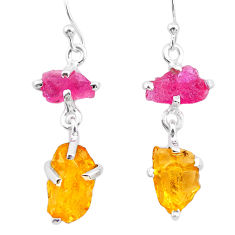 10.11cts yellow citrine rough ruby raw 925 silver dangle earrings t25644