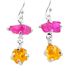 9.05cts yellow citrine rough ruby raw 925 silver dangle earrings t25645