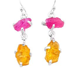 9.93cts yellow citrine rough ruby raw 925 silver dangle earrings t25646