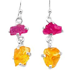 9.54cts yellow citrine rough ruby raw 925 silver dangle earrings t25648