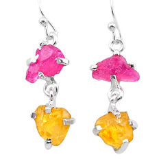 9.96cts yellow citrine rough ruby raw 925 silver dangle earrings t25651