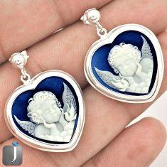 LOVE BABY ANGEL WINGS CAMEO HEART 925 SILVER DANGLE EARRINGS JEWELRY G38355