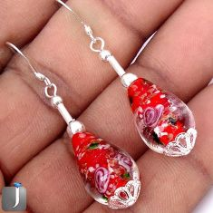 LUXURY MULTICOLOR DICHROIC GLASS 925 STERLING SILVER EARRINGS JEWELRY G34467