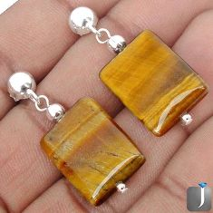 MAGICAL NATURAL BROWN TIGERS EYE 925 STERLING SILVER EARRINGS JEWELRY G78269