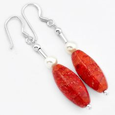 MAGICAL NATURAL RED SPONGE CORAL PEARL 925 SILVER DANGLE EARRINGS JEWELRY H40239