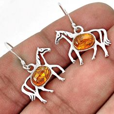 MAGICAL ORANGE AMBER OVAL 925 STERLING SILVER HORSE EARRINGS JEWELRY H25980