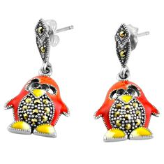 5.02gms marcasite multi color enamel 925 sterling silver earrings jewelry c4568