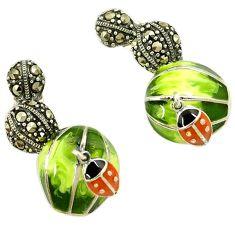 Marcasite multi color enamel 925 sterling silver lady bug dangle earrings h55705