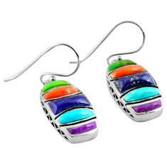 13.28cts multi color copper turquoise lapis lazuli 925 silver earrings c4519