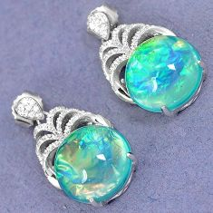 MULTI COLOR DICHROIC GLASS WHITE TOPAZ 925 SILVER DANGLE EARRINGS JEWELRY H4459