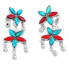 16.26gms multi color enamel 925 sterling silver earrings jewelry c4505