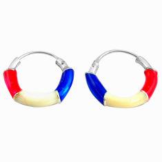 1.26gms multi color enamel 925 sterling silver earrings jewelry c4579