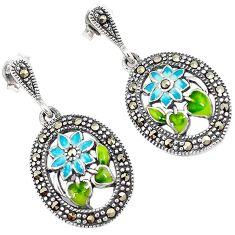 Multi color enamel marcasite 925 sterling silver flower dangle earrings h55731