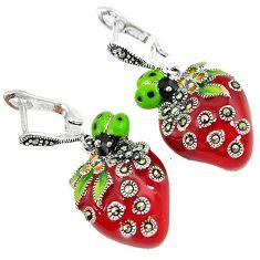 Multi color enamel marcasite 925 sterling silver flowers cheery earrings h55758