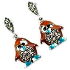 Multi color enamel marcasite 925 sterling silver penguin earrings jewelry h48320