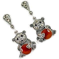 Multi color enamel marcasite 925 sterling silver teddy bear earrings h48995