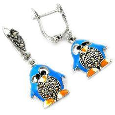 Multi color enamel marcasite penguin 925 sterling silver dangle earrings h48984