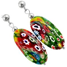 MULTI COLOR ITALIAN MURANO GLASS 925 SILVER DANGLE EARRINGS JEWELRY H29718