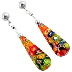 MULTI COLOR ITALIAN MURANO GLASS 925 SILVER DANGLE EARRINGS JEWELRY H29736