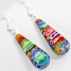 Multi color italian murano glass 925 silver dangle earrings jewelry h46142