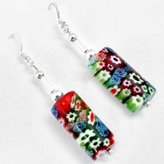Multi color italian murano glass 925 silver dangle earrings jewelry h46145