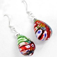 Multi color italian murano glass 925 silver dangle earrings jewelry h46148