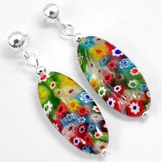 Multi color italian murano glass 925 silver dangle earrings jewelry h46149
