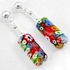 Multi color italian murano glass 925 silver dangle earrings jewelry h46155