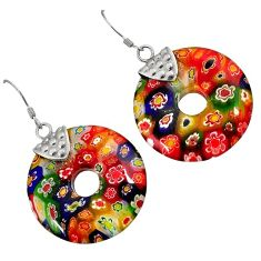 MULTI COLOR ITALIAN MURANO GLASS 925 SILVER DONUT DANGLE EARRINGS JEWELRY H29721