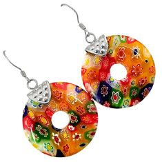 MULTI COLOR ITALIAN MURANO GLASS 925 SILVER DONUT SHAPE DANGLE EARRINGS H29722