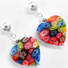 Multi color italian murano glass 925 silver heart dangle earrings jewelry h46156