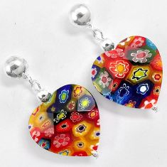 Multi color italian murano glass 925 silver heart dangle earrings jewelry h46157