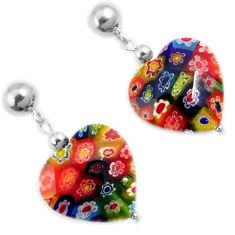 Multi color italian murano glass 925 silver heart dangle earrings jewelry h54154