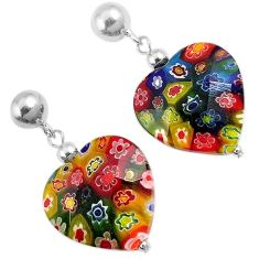 Multi color italian murano glass 925 silver heart dangle earrings jewelry h54155