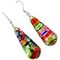 MULTI COLOR ITALIAN MURANO GLASS 925 SILVER TEARDROP DANGLE EARRINGS H29701